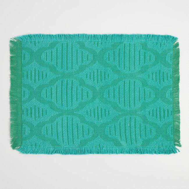 Teal Fringed Jacquard Placemats Set of 4