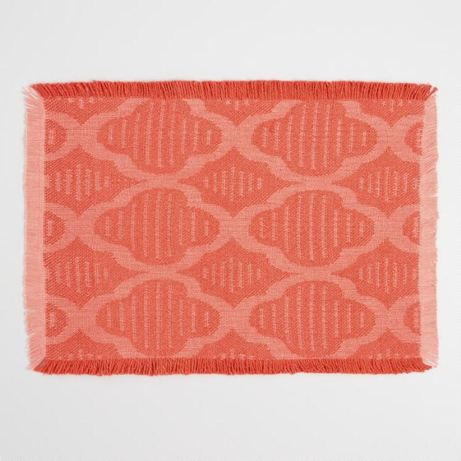Orange Fringed Jacquard Placemats Set of 4