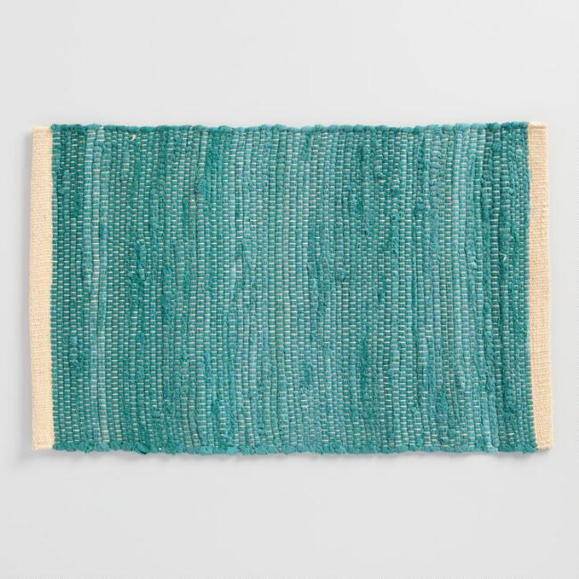 Teal Woven Chindi Placemats Set of 4