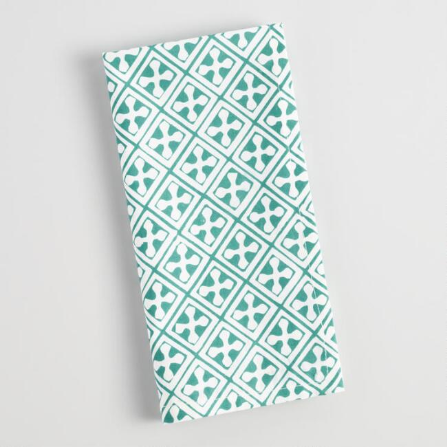 Teal Four Way Pattern Napkins Set of 4
