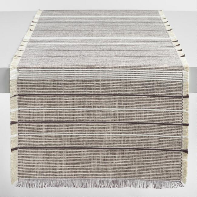 White and Brown Woven Jute Table Runner