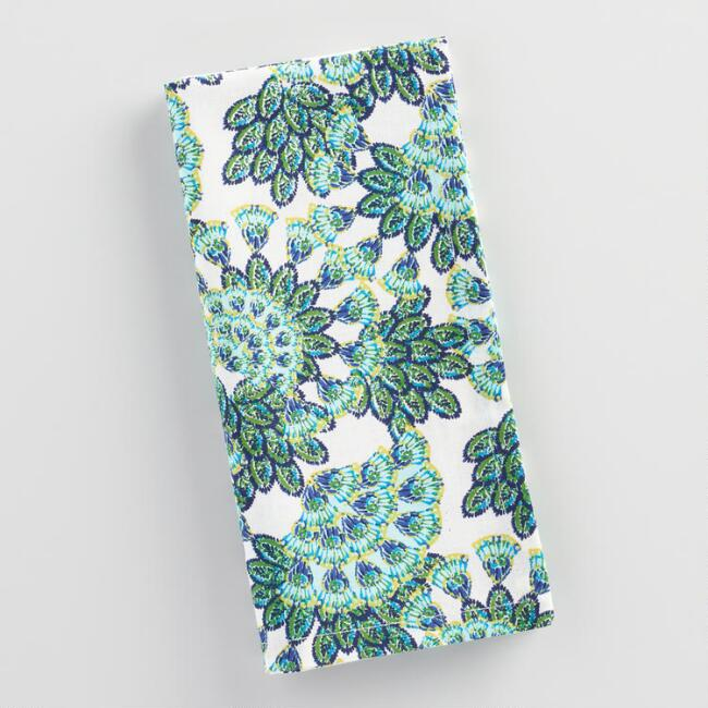 Peacock Feather Napkins Set of 4