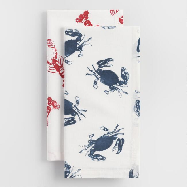 Crab and Lobster Napkins Set of 2