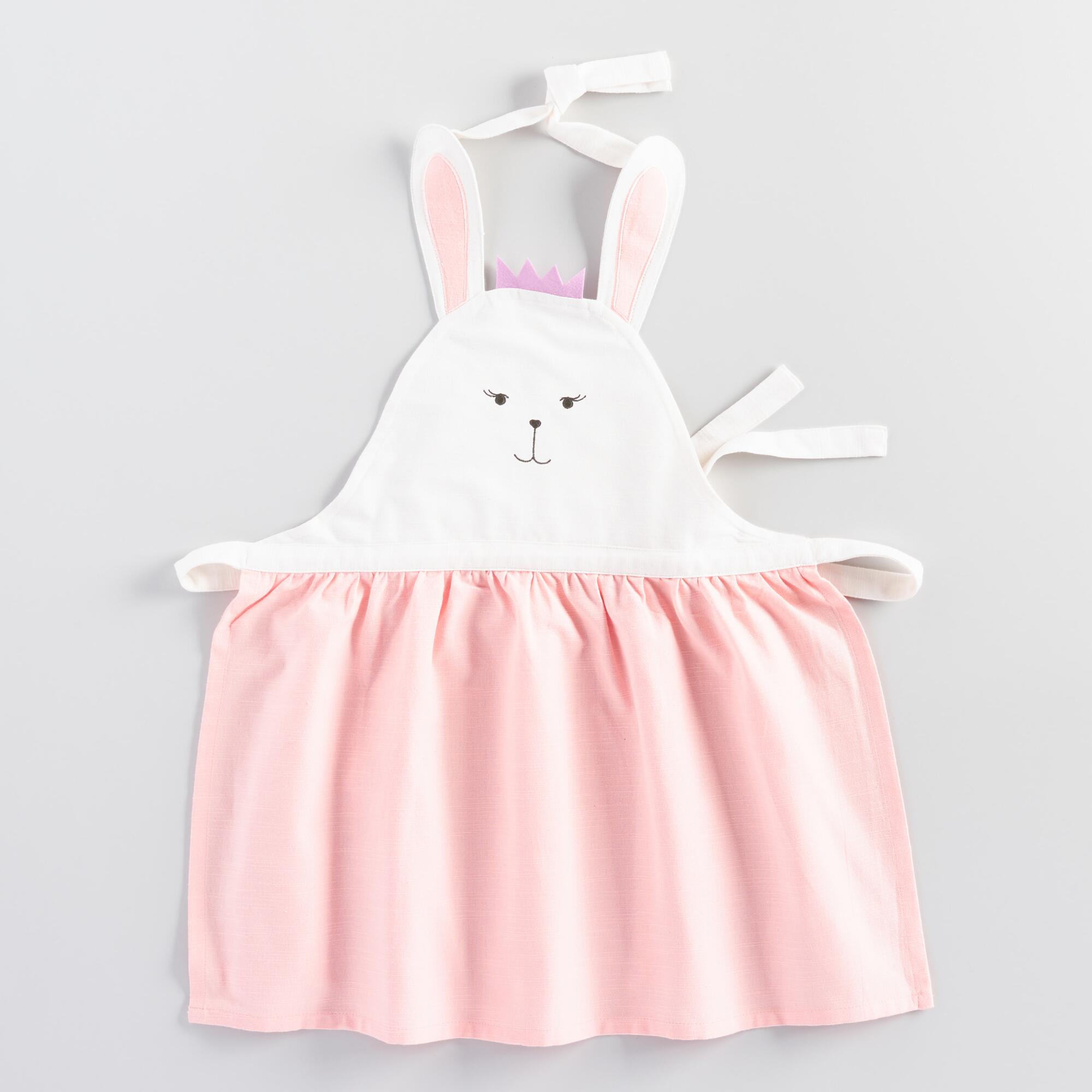 Vintage Aprons, Retro Aprons, Old Fashioned Aprons & Patterns Kids Pink Bunny Apron - Cotton by World Market $12.99 AT vintagedancer.com