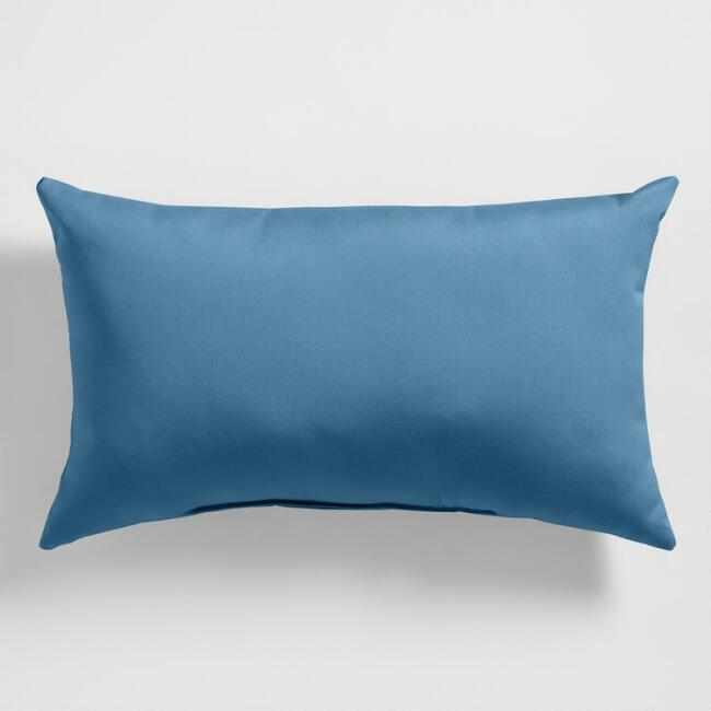 Sunbrella Regatta Blue Canvas Outdoor Lumbar Pillow