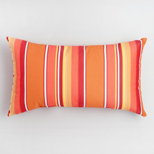 Sunbrella Mango Dolce Stripe Outdoor Lumbar Pillow