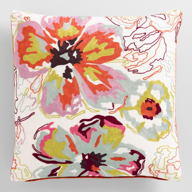 Floral Watercolor Embroidered Pillow