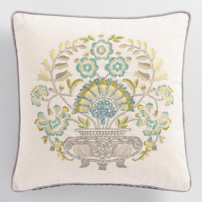 Trellis Chambray Embroidered Pillow