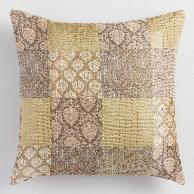 Brown Brocket Patchwork Throw Pillow
