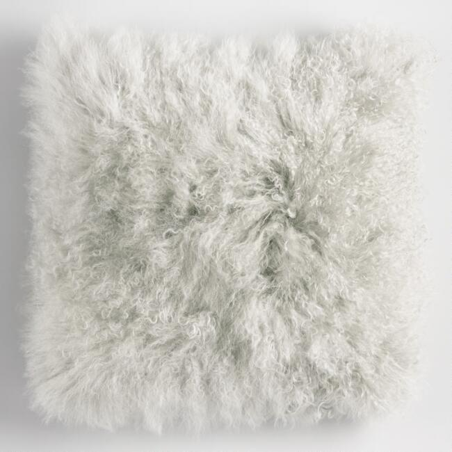 Gray Mongolian Lamb Fur Throw Pillow