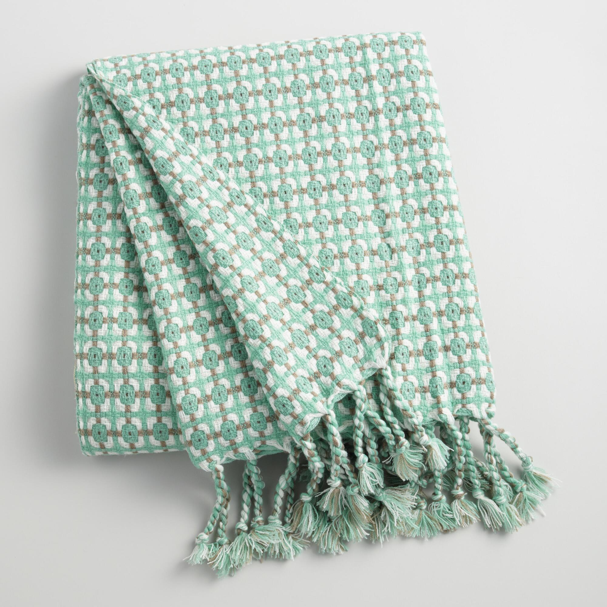 Aqua and White Woven Throw: Blue - Acrylic by World Market
