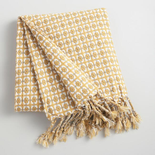 Yellow and Gray Woven Throw