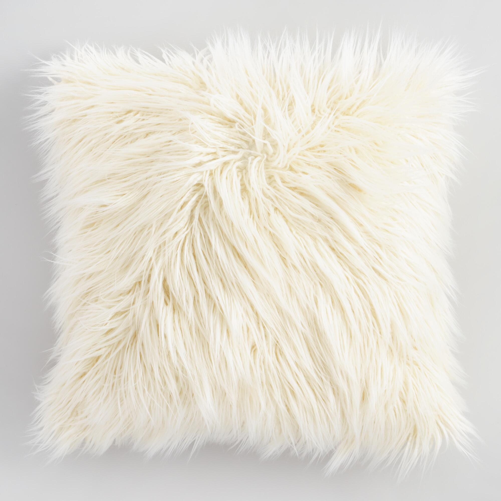 white pillow square zoom cushion fur