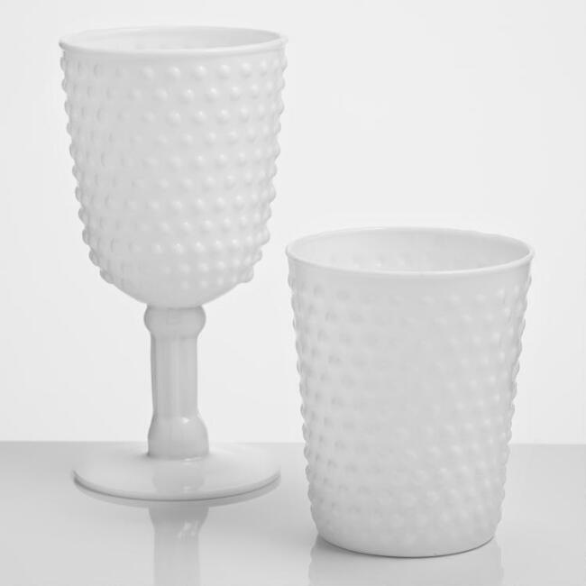 White Glass Hobnail Collection