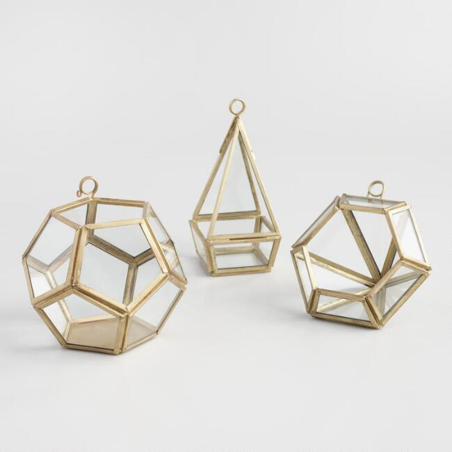 Brass Mini Faceted Terrariums