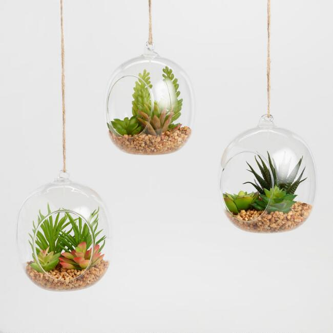 Faux Succulents in Glass Globe Terrariums Set of 3