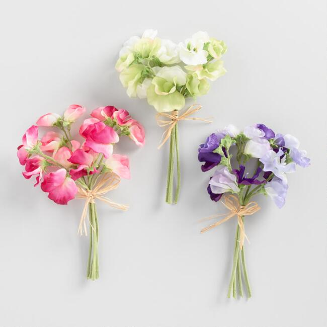 Mini Faux Sweet Pea Bunches Set of 3