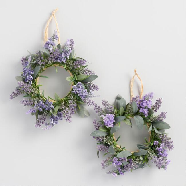 Mini Faux Lavender Wreaths Set of 2