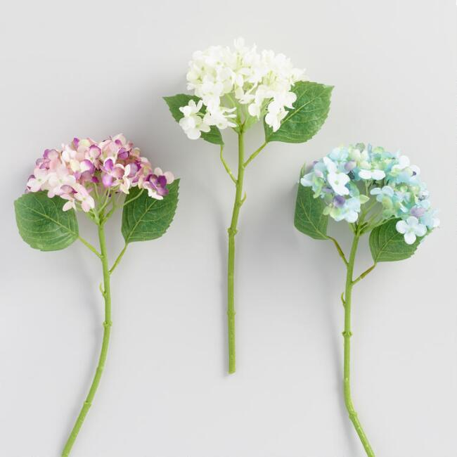 Faux Hydrangea Stems Set of 3