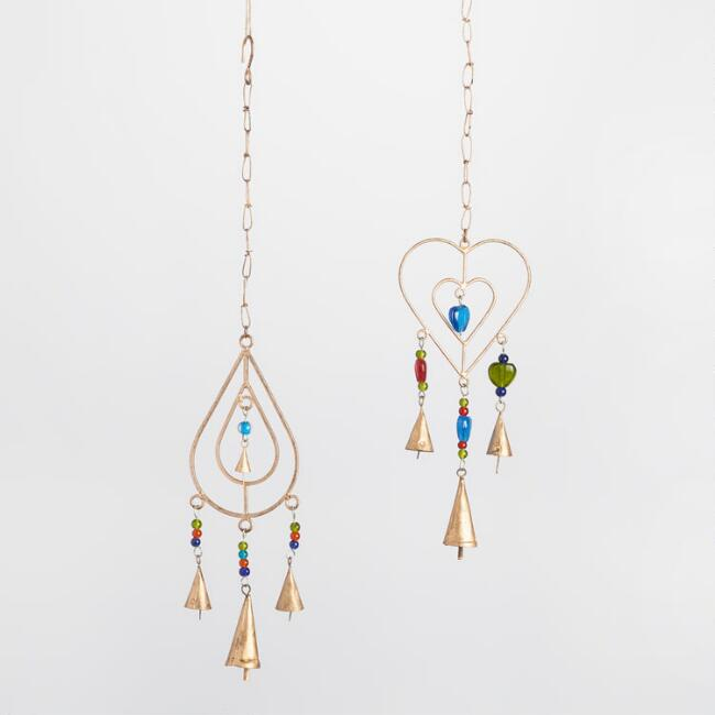 Heart and Teardrop Iron Wind Chimes Set of 2