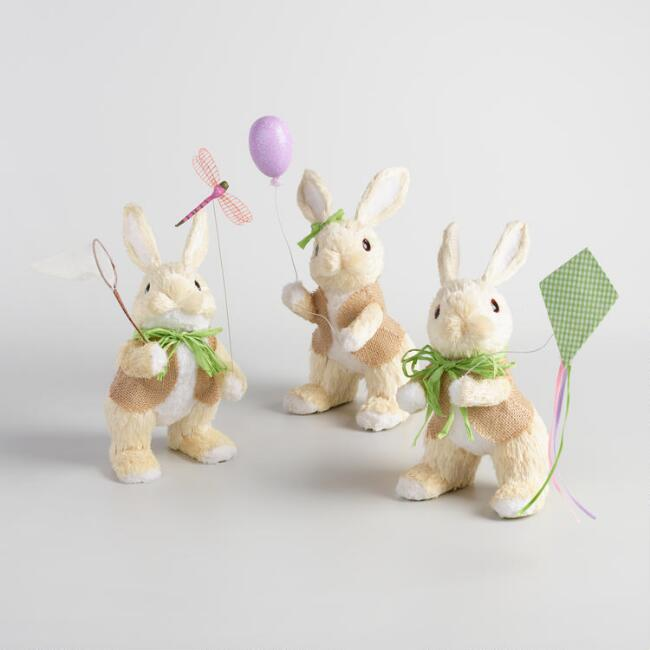 White Natural Fiber Outdoorsy Bunnies Set of 3