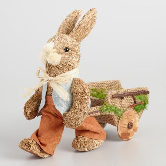 Natural Fiber Bunny with Wheelbarrow