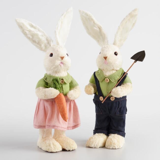 White Natural Fiber Ma and Pa Bunnies Set of 2