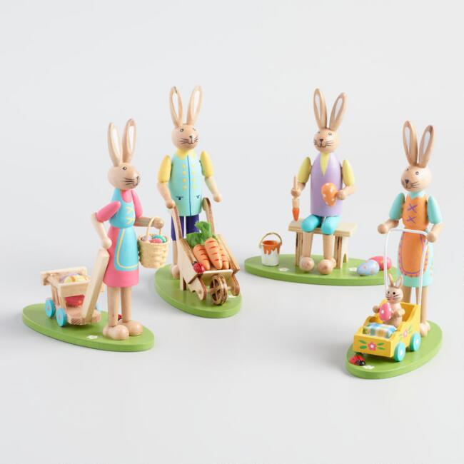 Wood Easter Bunny Figures Set of 4