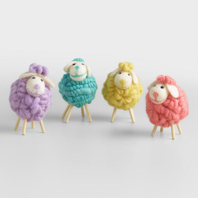 Felt and  Wool Lambs Set of 4