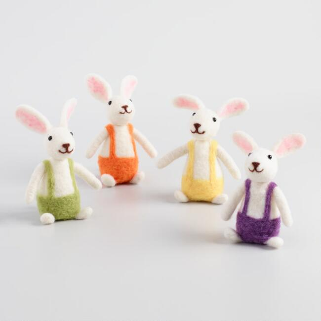 Felted Wool Bunnies in Overalls Set of 4