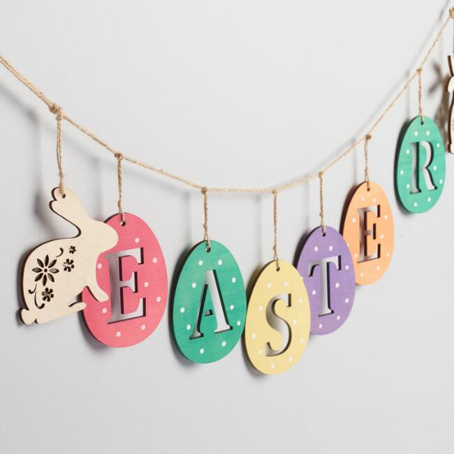 Wood Easter Egg Garland