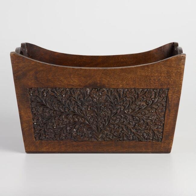 Carved Wood Magazine Holder