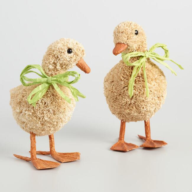 Natural Fiber Ducks Set of 2