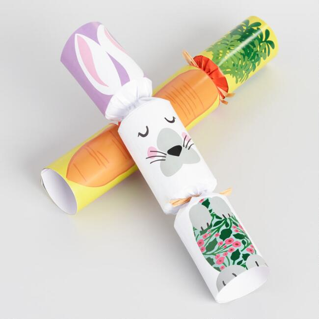 Easter Rabbit and Carrot Racing Game Crackers 6 Count