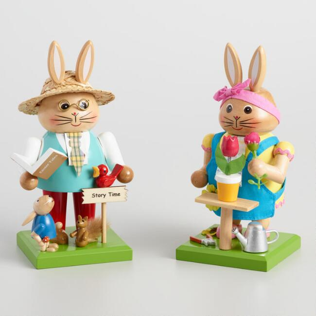 Mama and Papa Bunny Nutcrackers Set of 2
