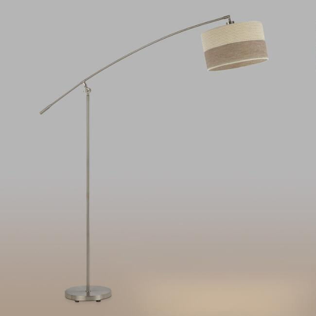 Brushed Steel Ashby Floor Lamp and Shade Set