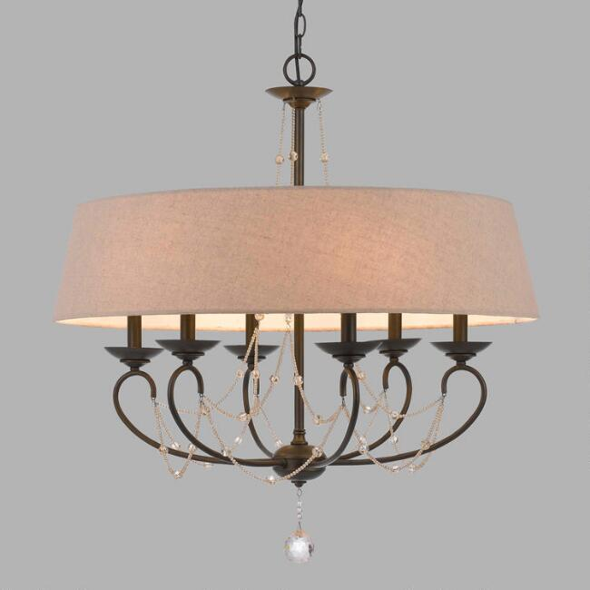 Oil Rubbed Bronze and Burlap 6 Light Taylor Chandelier
