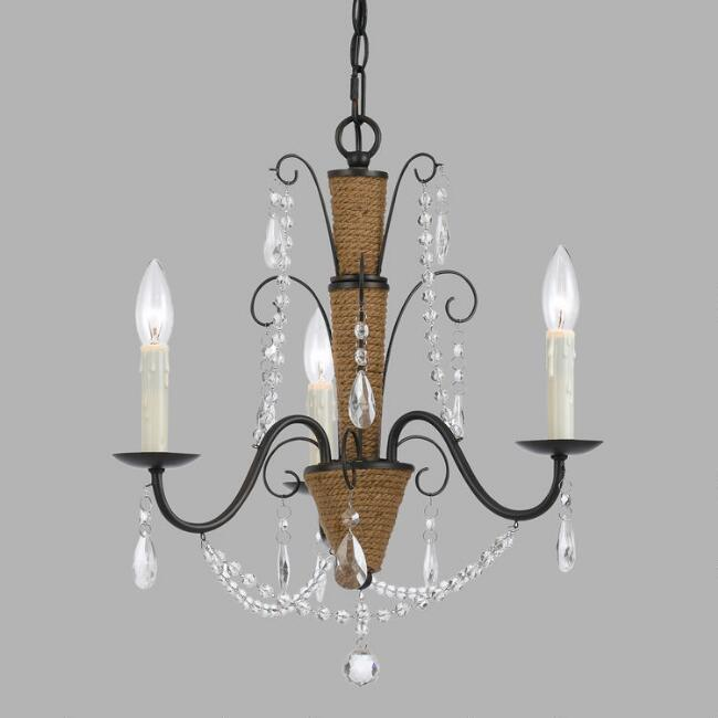 Oil Rubbed Bronze and Rope 3 Light Morgan Chandelier