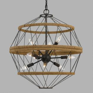 Iron And Burlap Rope 9 Light Pendant