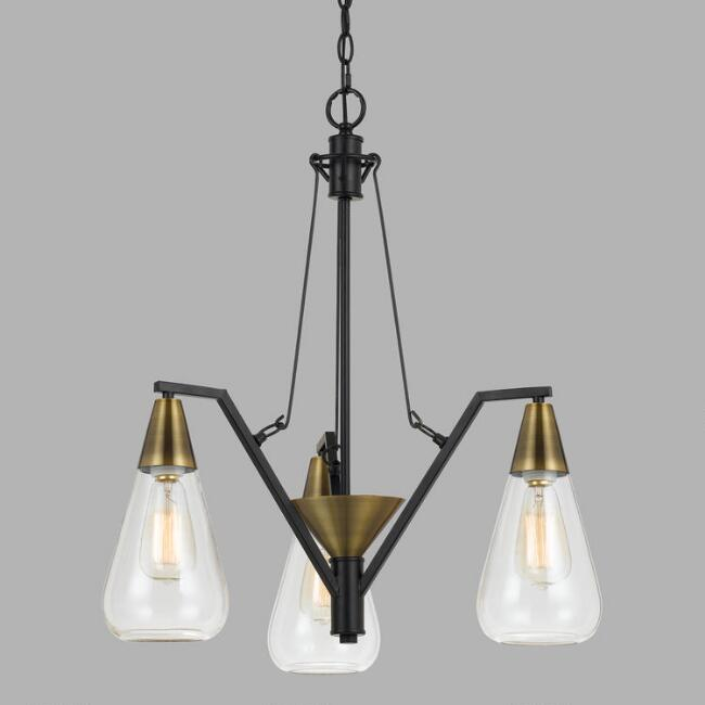 Antique Brass and Glass 3 Light Riley Chandelier
