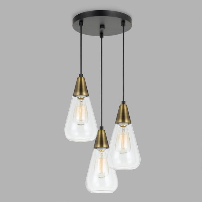 Antique Brass and Glass 3 Light Riley Pendant