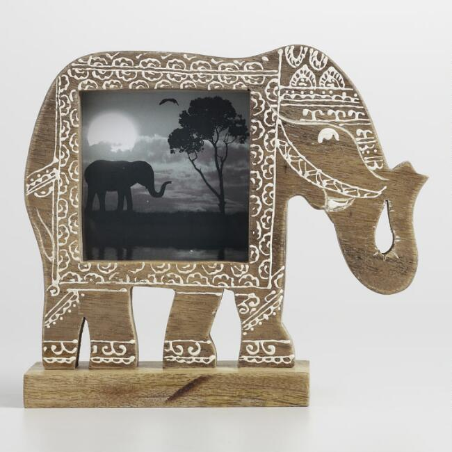 Carved Wood Elephant Tabletop Frame
