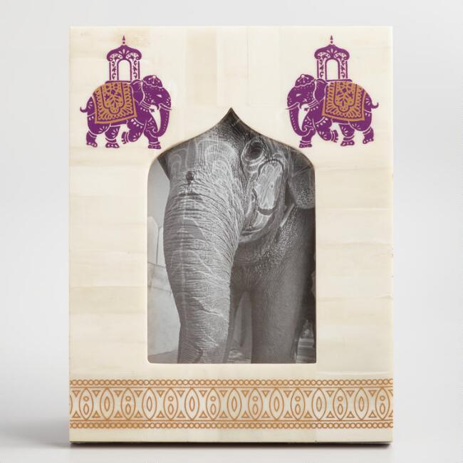 Elephant Print Bone Tabletop Frame