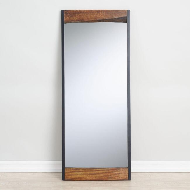 Large Walnut Brown Wood Leaner Mirror with Live Edge