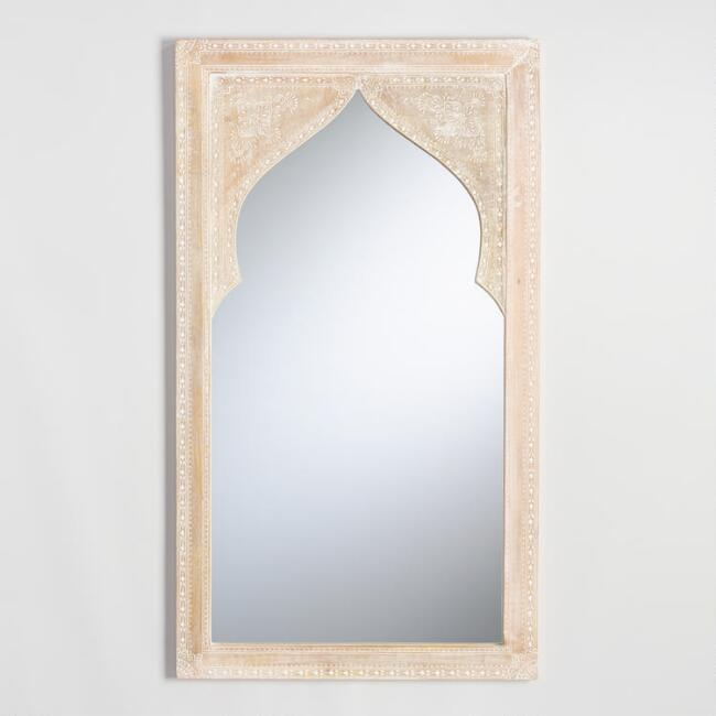 Whitewash Wood Mehrab Asana Wall Mirror