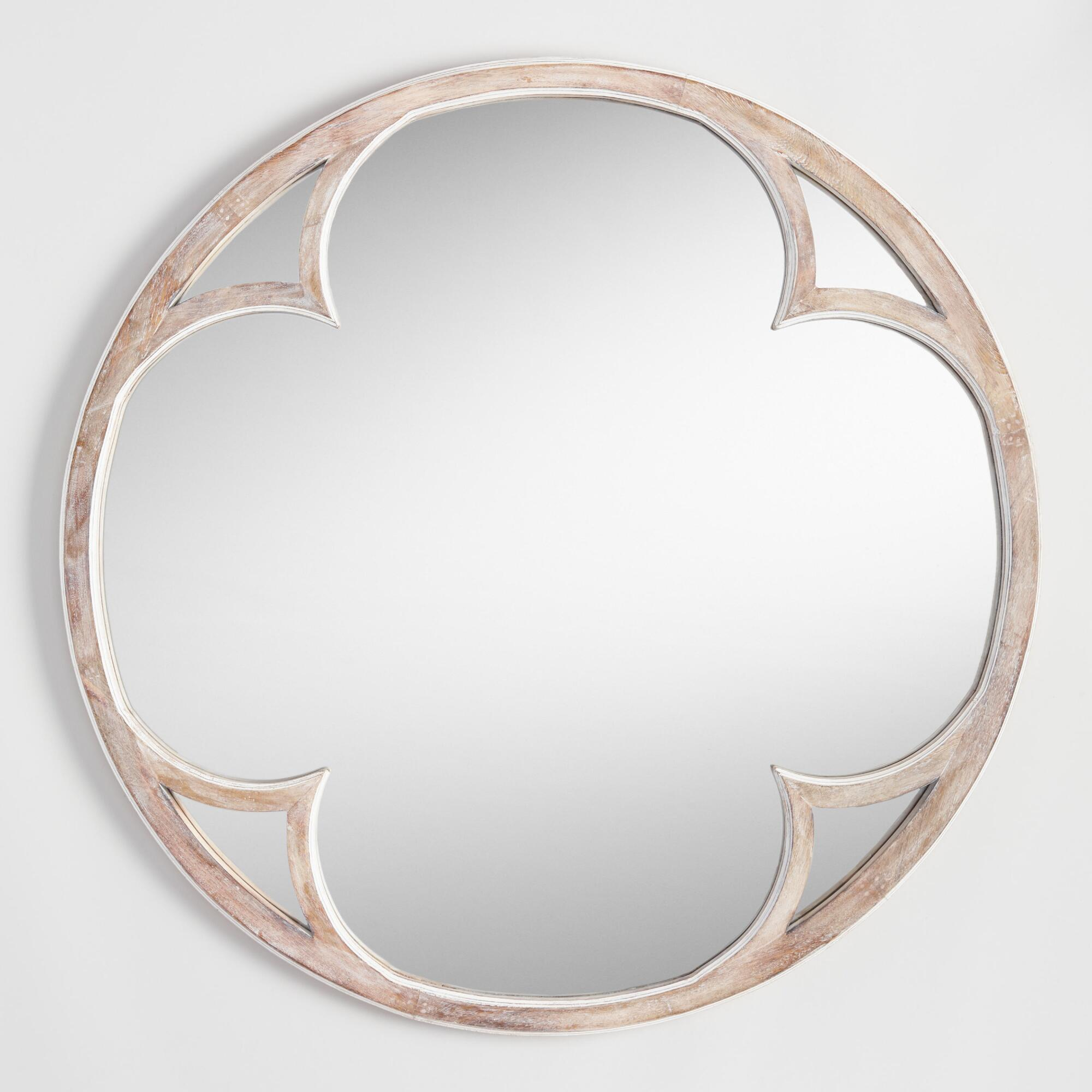 Round Sorrento Mirror: Natural - Wood by World Market