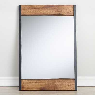 Small Walnut Brown Live Edge Leaning Mirror