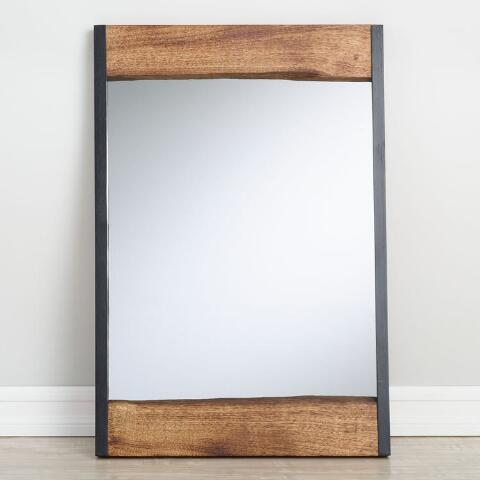 Small Walnut Brown Wood Leaner Mirror With Live Edge World Market