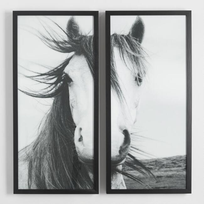 Horse Diptych by Steven Coleman with Black Frames Set of 2 | World ...