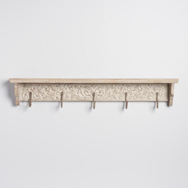 Whitewash Carved Wood 5 Hook Wall Shelf